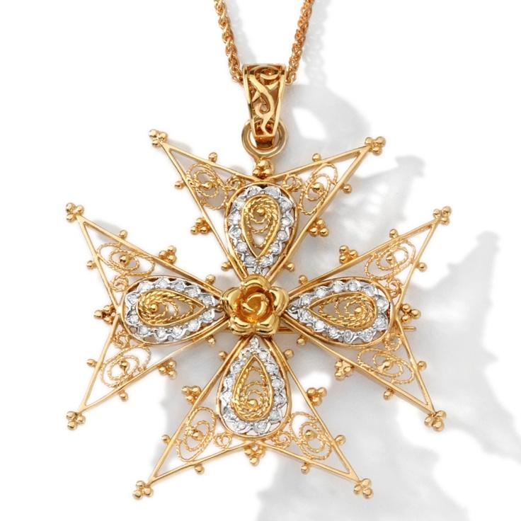 "Dallas Prince Designs .48ct Diamond Vermeil ""Maltese Cross"" Pin/Pendant"