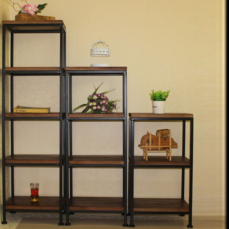 Simple living room shelf metal storage racks wrought iron wood sub-floor multi-retro
