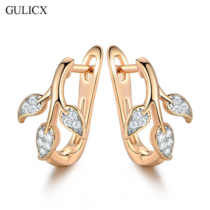 GULICX Brand Cute Tree Leaves Hoop Earring for Women  Gold Platinum Plated Hoop Earing Crystal Cubic Zirconia Jewelry E256