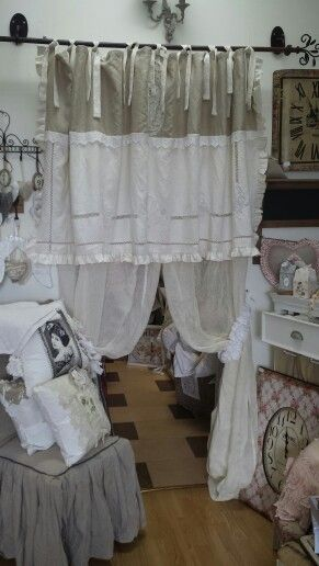 Rideaux en tamine de lin et cantonni re avec un drap - Rideaux shabby chic ...