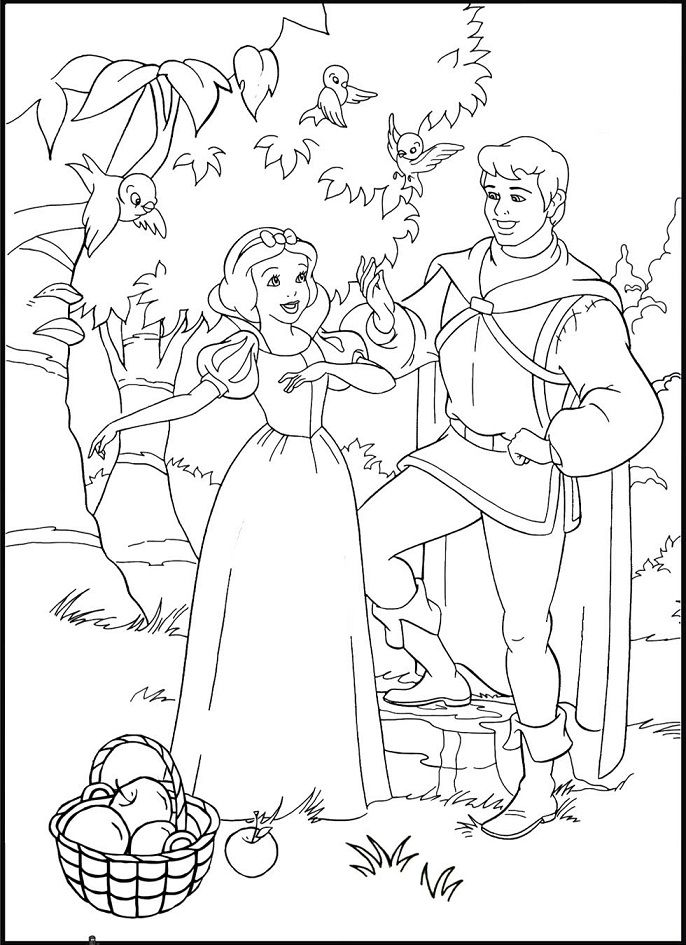 snow white and the prince coloring pages - Princess Tea Party Coloring Pages