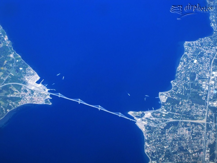 Trikoupis Bridge (Rio-Antirio) off Patras Greece