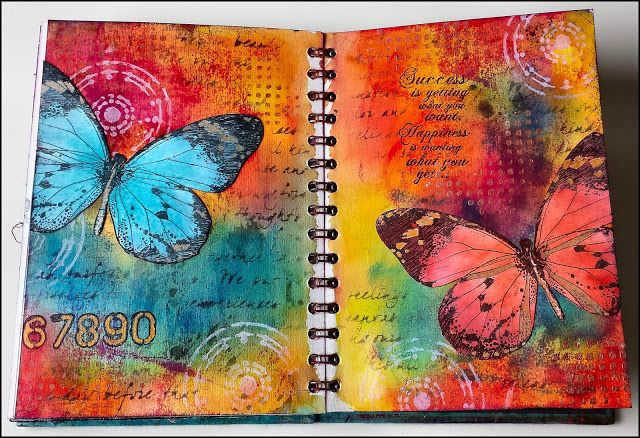 art journal pages from Creativity ... gorgeous rich colors ... butterflies ... collage style stamping ...