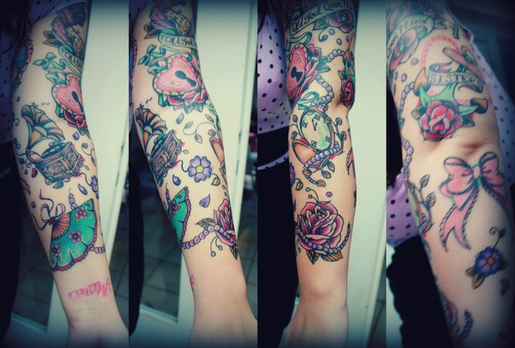 22 best images about tattoos for girls on pinterest bow for Girly arm sleeve tattoos