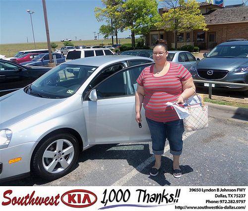 Southwest Kia of Dallas would like to say Congratulations to Angela Wilson on the 2008 Volkswagen Jetta Sedan