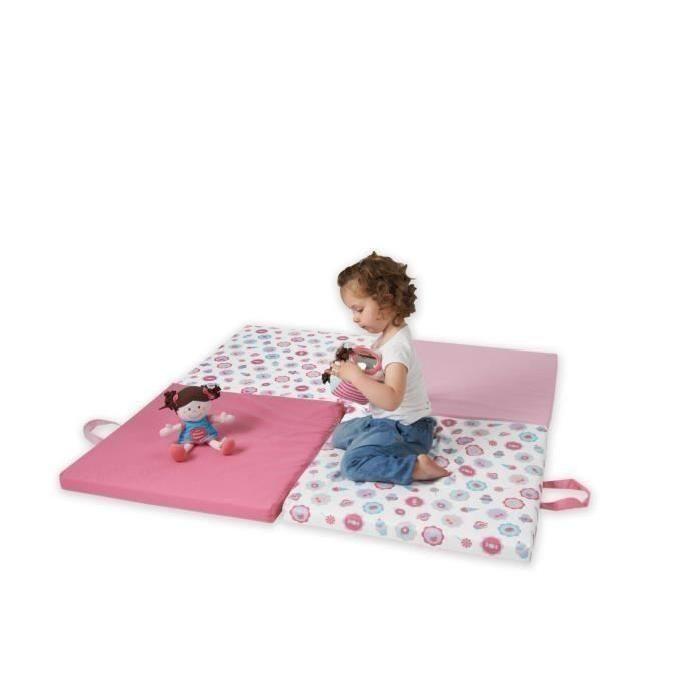 3 en 1 : Déplié pour une aire de jeu - Plié en 2 pour un matelas d'appoint pour lit 60 x 120 cm - Plié en 4 pour un pouf - Poignées de transport intégrées - Déhoussable - Dessous en  PVC - Fille - Dès la naissance - Livré à l'unité