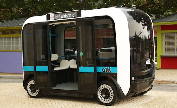 Olli is an electric-powered, 3D-printed, self-driving smart minibus cruising the streets of Washington, D.C. The shuttle bus, made by an Arizona-based open-source carmaker called Local Motors, to analyze information from more than 30 sensors so it can drive around safely and react to changes in road conditions. The bus, which is 12.9 feet long and 8.2 feet high and fits 12 passengers. Olli has a top speed of 12 miles per hour and a driving range of 32 miles. June 22, 2016