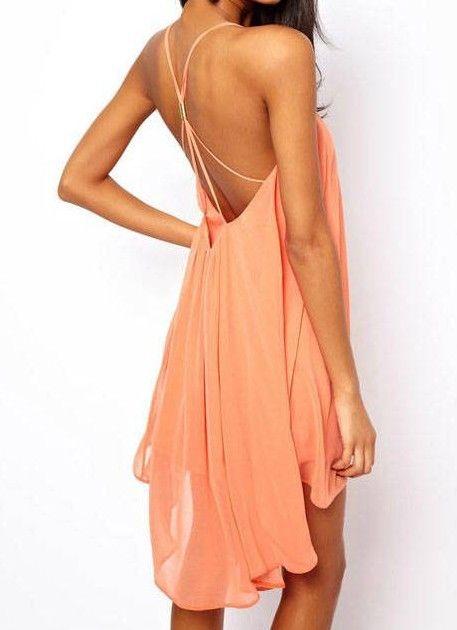 Pink Spaghetti Strap Backless Chiffon Dress - Sheinside.com