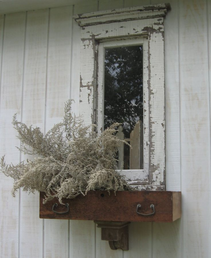 """Old Chippy White Mirror...repurposed dresser drawer as a """"window box""""...architectural corbel."""