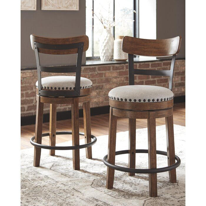 Amador Upholstered Swivel Bar Counter Stool With Images