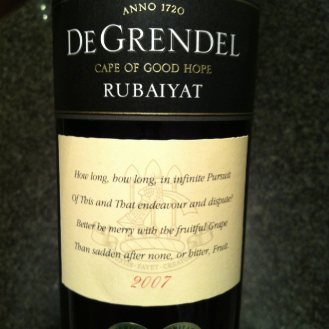 De Grendel Rubaiyat 2007. The winemaker introduced me to this as part of a tasting at the Cybercellar.com office. It wowed everyone. Great red blend!