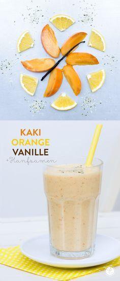 Smoothie-Montag 16: Kaki-Orange-Vanille Smoothie mit Hanfsamen | feiertäglich…das schöne Leben