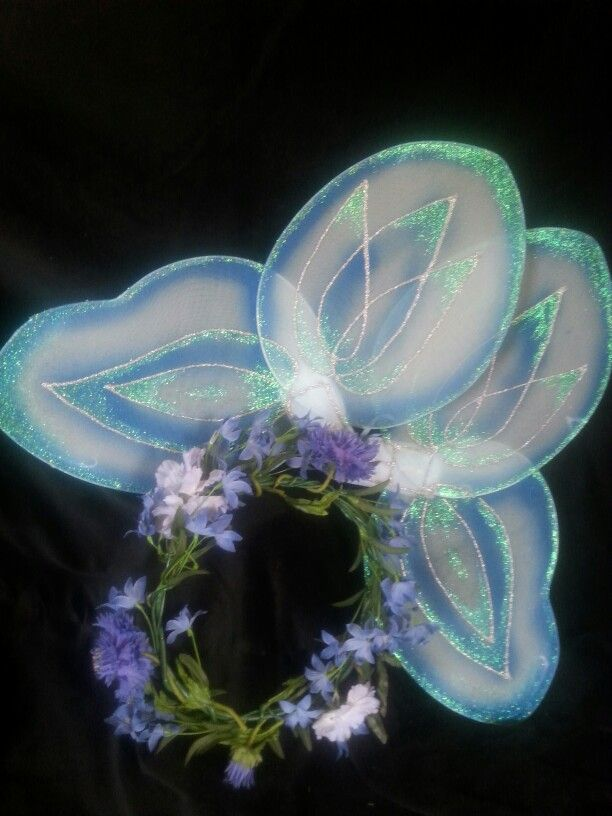 CORNFLOWER - Fairy of Tatania's royal entourage,  in Shakespeare's Midsummer's Night.   OOAK wreath of delicate blue flowers and handpainted wings.  $ 35