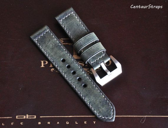 Olive Green handmade leather watch strap 24 mm by CentaurStraps