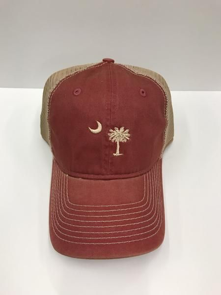 Show your Palmetto pride with this adjustable mesh trucker hat - featuring a tea stain finish and an embroidered Palmetto Moon