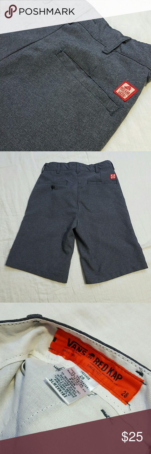 "Vans x Red Kap Grey Lightweight Workwear Shorts Vans x Red Kap Grey Workwear Shorts Size: 28  Measurements: Waist: 14"" Inseam:  10.5"" Outseam:  21 1/4""  Great Condition Vans Shorts Flat Front"