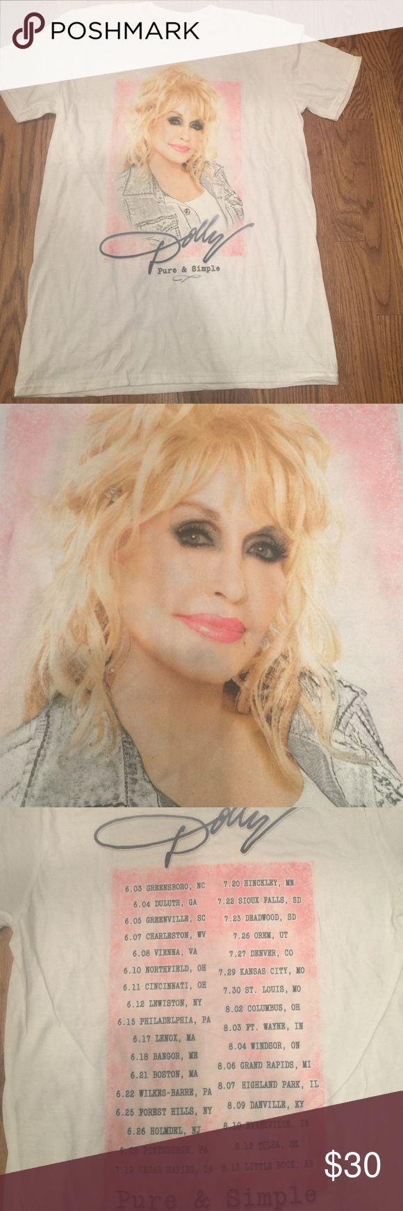 "Dolly Parton Concert T Shirt 2016 Dolly Parton Concert T Shirt.  Never worn. Is technically a size medium but fits more like a size small which is why I've listed it as such.  Hits me on my upper thigh and I'm 5""2 Tops Tees - Short Sleeve"