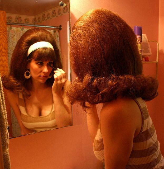 Lovely flip hairstyle. Big hair.
