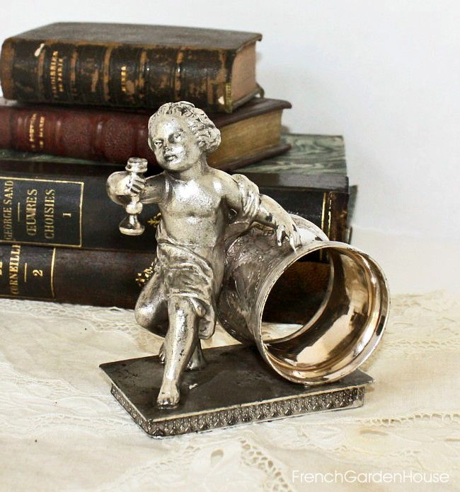Antique Silver Figural Napkin Holder Ring Cherub Reed & Barton…
