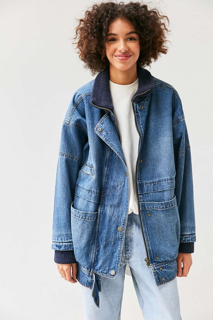 BDG Oversized Ribbed Denim Parka
