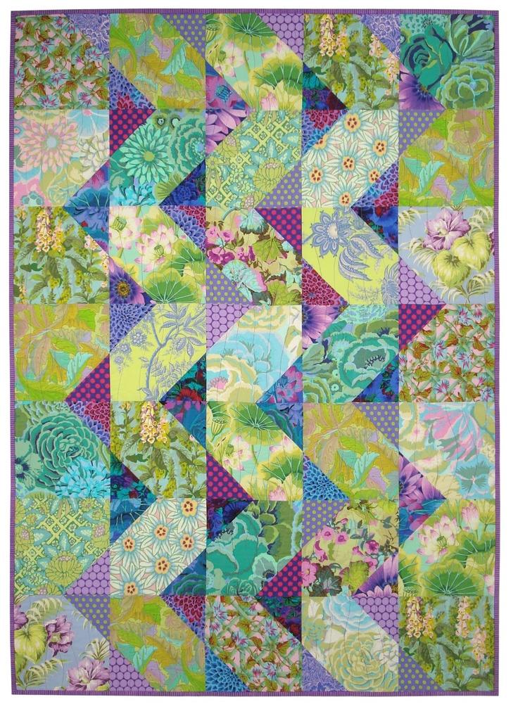 Cascade quilt using Kaffe Fassett fabrics.