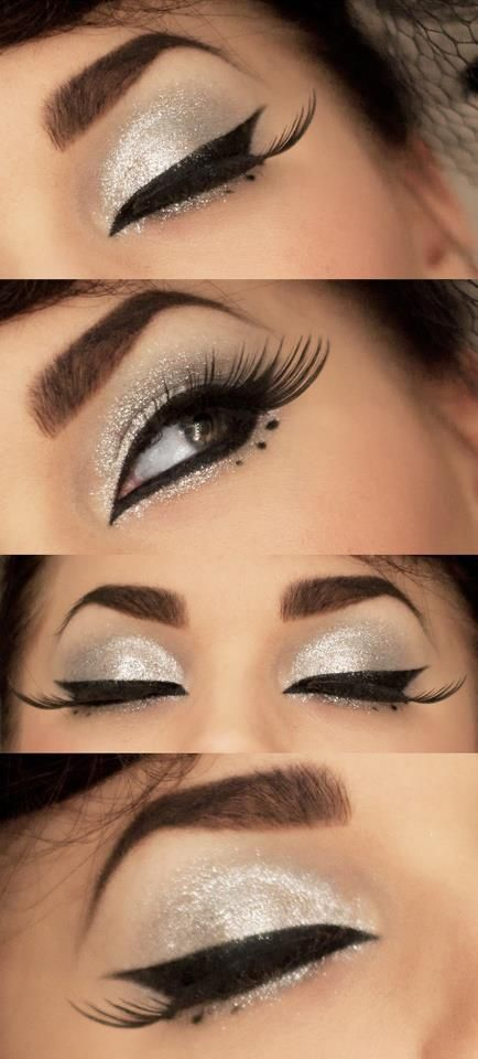 I like the silver color shadow, not the all together drag queen look...