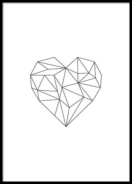 Tolles Poster mit einem schwarzen Herzen in geomet…