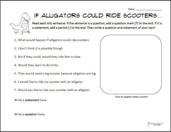 alligators on scooters questions vs statements free printable