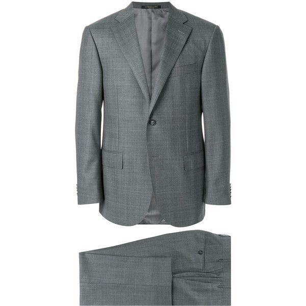 Corneliani dinner suit (£1,570) ❤ liked on Polyvore featuring men's fashion, men's clothing, men's suits, grey, mens grey suits, mens gray suit and mens tuxedo suit