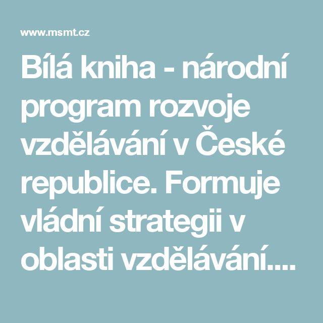 Bílá kniha - národní program rozvoje vzdělávání v České republice. Formuje vládní strategii v oblasti vzdělávání. Strategie odráží celospolečenské zájmy a dává konkrétní podněty k práci škol