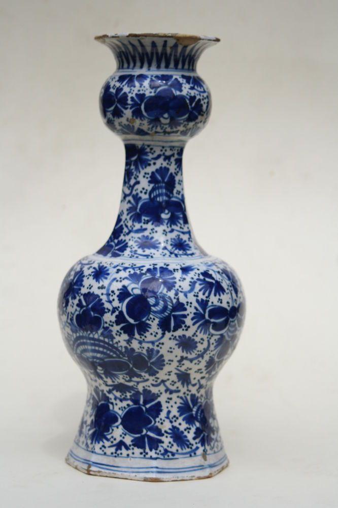 18th Century Dutch Delft Vase Blue Amp White Hand Painted