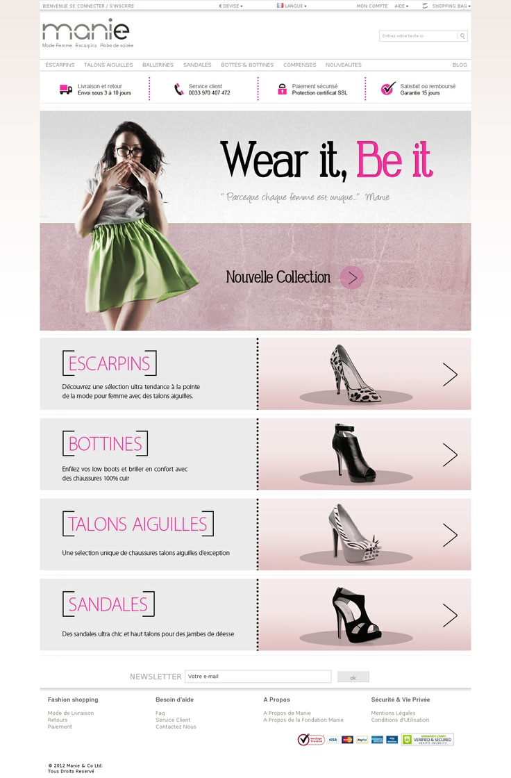 Manie, boutique en ligne de vente de chaussures de femmes mode et tendances comme les escarpins, les bottines, les bottes, ...