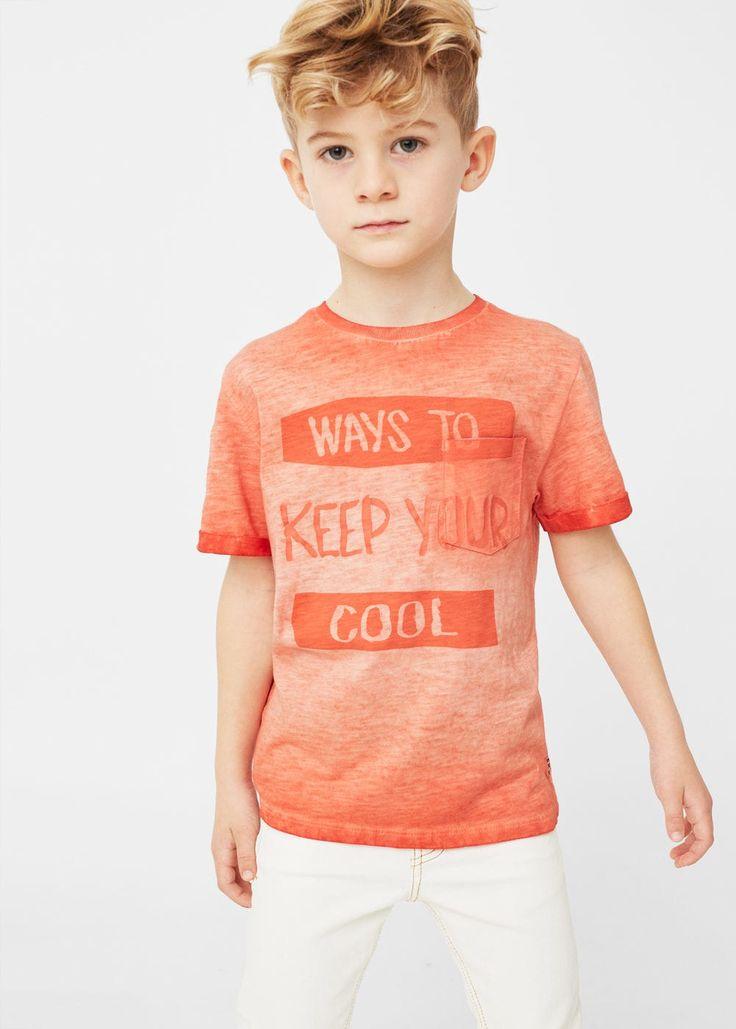 Camiseta mensaje efecto desgastado - Niños | MANGO Kids España