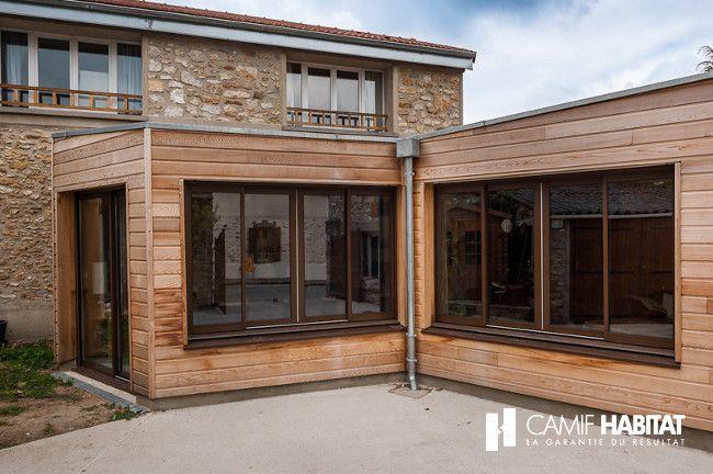 Extension de maison en bois à Feucherolles. http://www.camif-habitat.fr/projet-immobilier/travaux-creer-extention-bois.php