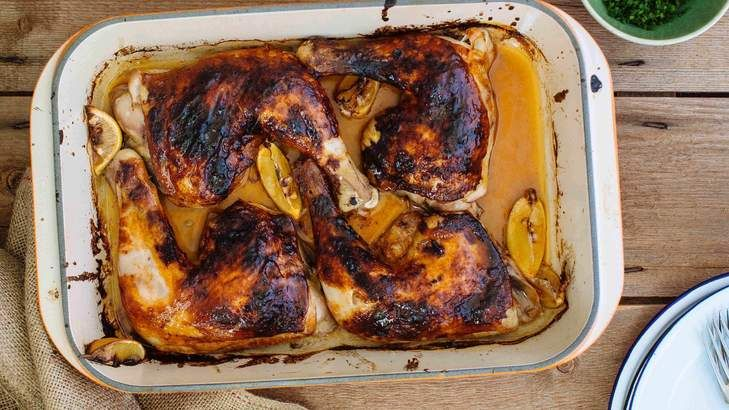Adam Liaw's roasted chicken marylands with chilli and honey.