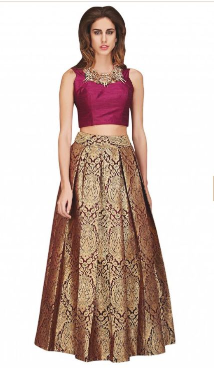 Gold pleated skirt featuring in brocade. Matched with burgundy crop top blouse in raw silk wiht back zip for opening. Kalkifashion.com http://www.kalkifashion.com/lehengas/bridesmaid-lehengas/gold-brocade-skirt-with-burgundy-crop-top-only-on-kalki.html#MoreDetails