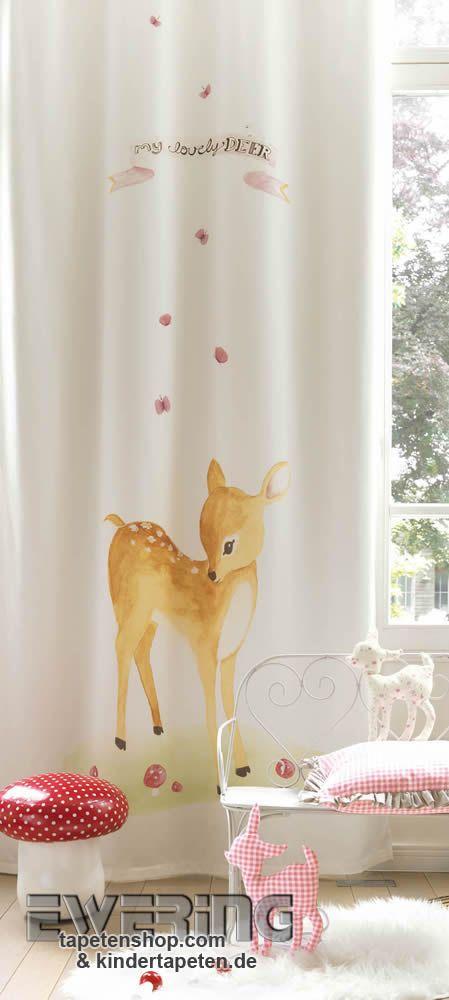 Alice & Paul 09 - Zaubern Sie aus dem süßen Stoff-Paneel mit Reh-Motiv einen unverwechselbaren Vorhang.