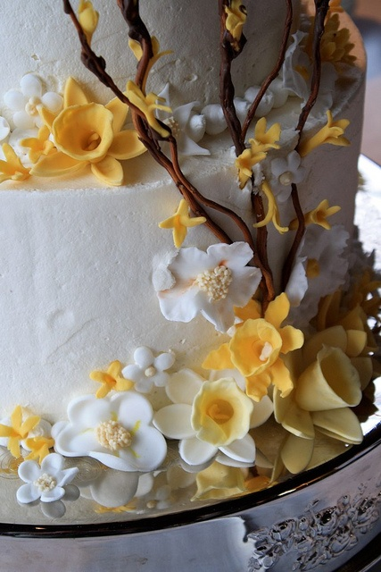 A closer view of my wedding cake...all of the flowers were handmade.