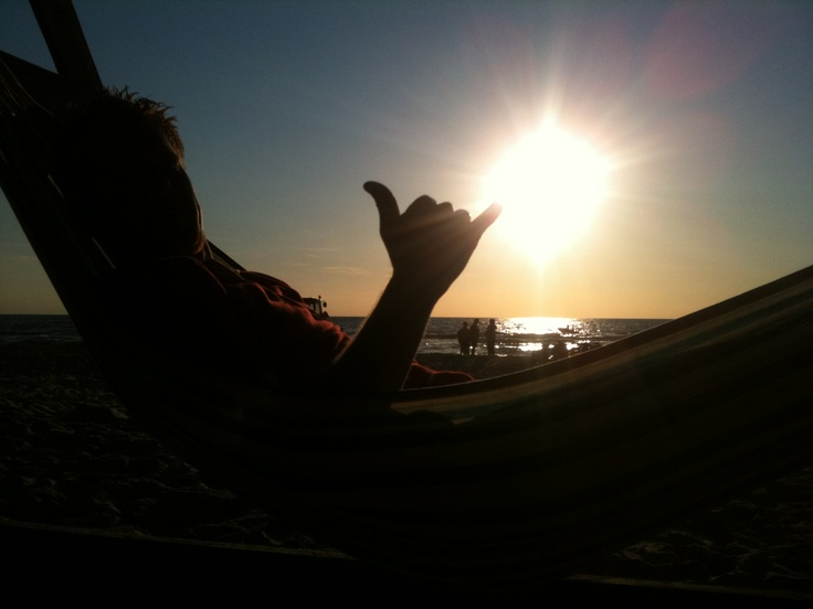 Me in my hammock, chilling as the sun sets