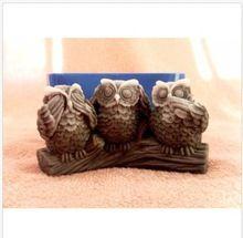 Три сова силиконовые формы для мыла и свечи makinganimal формы Diy ремесло пресс-формы(China (Mainland))