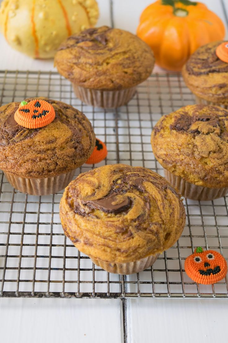 Soft, moist pumpkin muffins with a delicious swirl of Nutella, complemented by a…