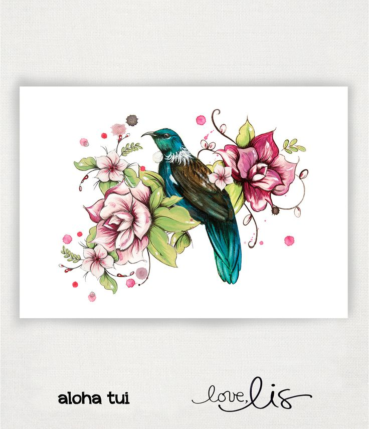 aloha tui - Love Lis NZ #nz #fineartprint #print #paint #tui