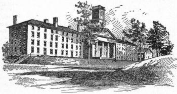 Capilla y dormitorios universitarios del Amherst College (ilustración de un anuario de la institución).
