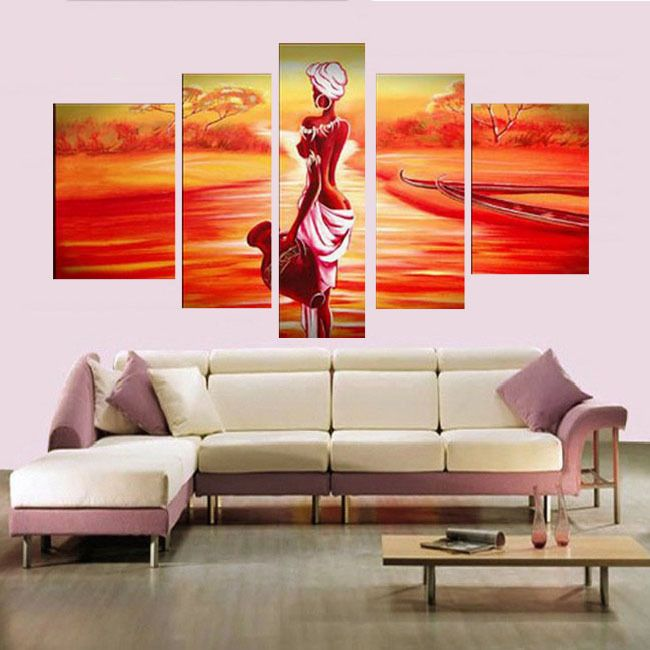 5034 Handmade 5 Piece Purple Modern Abstract Oil Painting On Canvas Wall Art African Woman Picture For Living Room Home Decora 58 00 Decoration