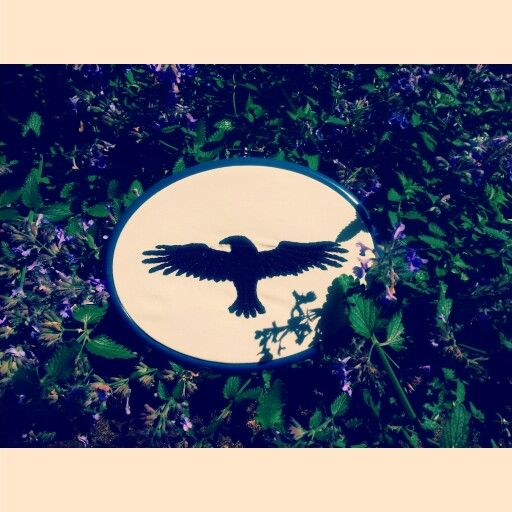 Embroidered crow wallhanging by Pickles LaVey