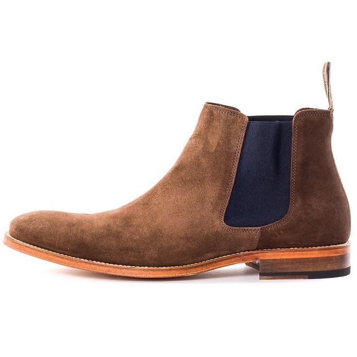 Handmade Men's Chocolate Brown Chelsea Suede Leather Boot Hand Made Heel shoes #Handmade #Chelsea