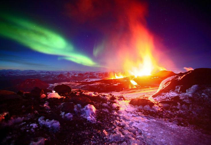 Northern lights and volcano in Iceland