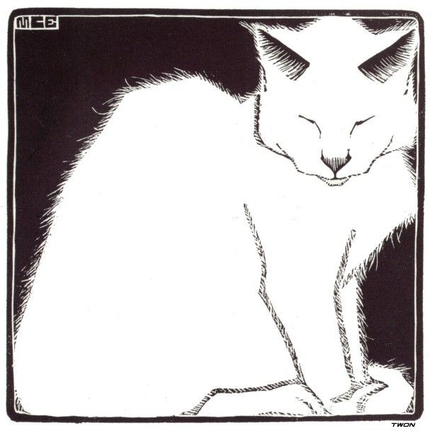"""White Cat I"" by M.C. Escher"