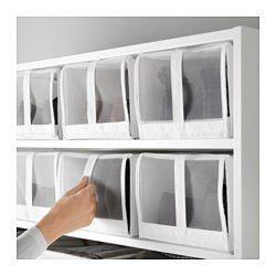 """IKEA - SKUBB, Shoe box, white, , You can look through the mesh to see what shoes are inside the box.Easy to open and close the window as the shoe box has a hook and loop fastener.All four boxes fit side by side in a 39¼"""" wide wardrobe frame.When the box is not in use and you want to save space, simply open the zipper in the bottom and fold it flat."""