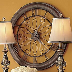 Tuscan Extra Large Open Scroll Gallery Wall Clock 30 Oversized Metal Scrolled